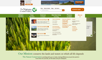 Figure 10: Source: The Nature Conservancy homepage [Screenshot], 2014. http://www.nature.org