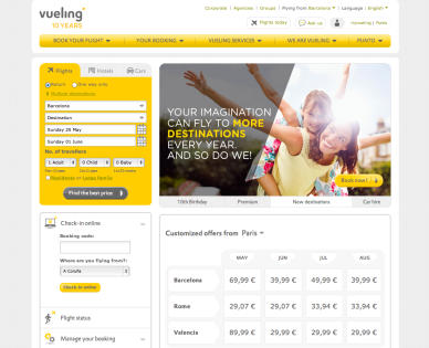 Figure 9: Source: Vueling homepage [Screenshot], 2014. http://www.vueling.com/en